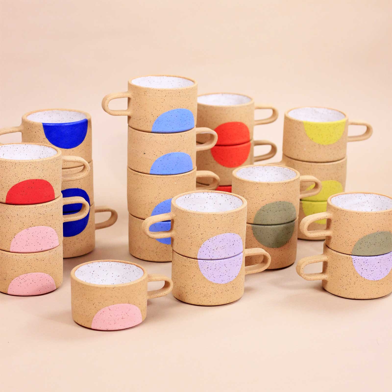 Mimi Ceramics all colors dot mugs raw clay handpainted Cool Machine store
