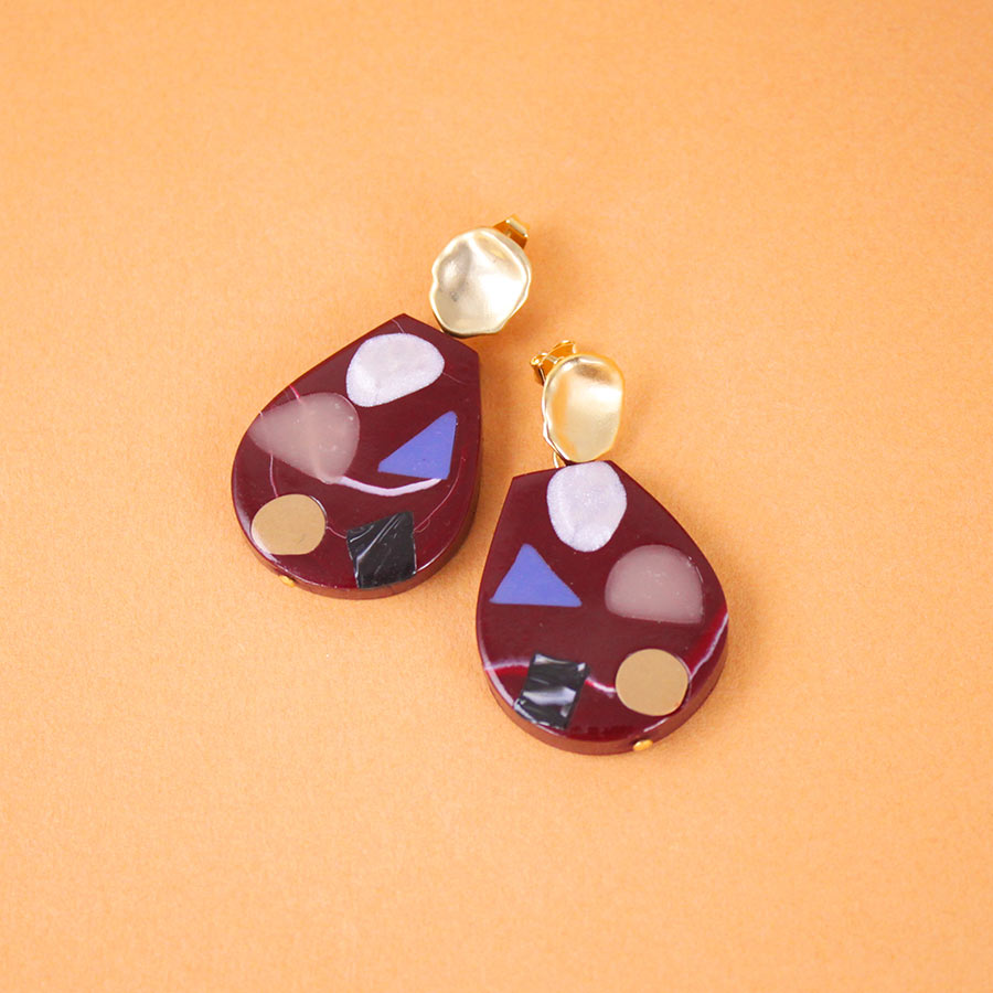 EARRINGS CRIMSON TERRAZZO