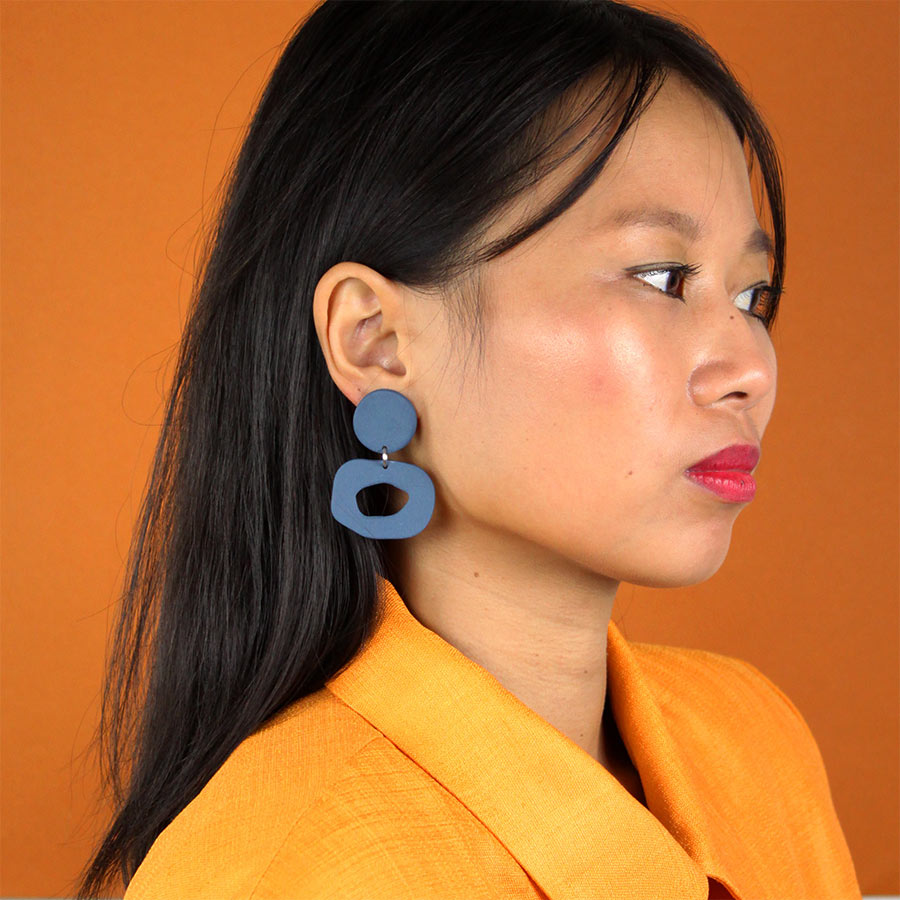 EARRINGS-SMALL-CUTOUT-DANGLE-BLUE-FOUR-EYES-CERAMICS-COOL-MACHINE-2