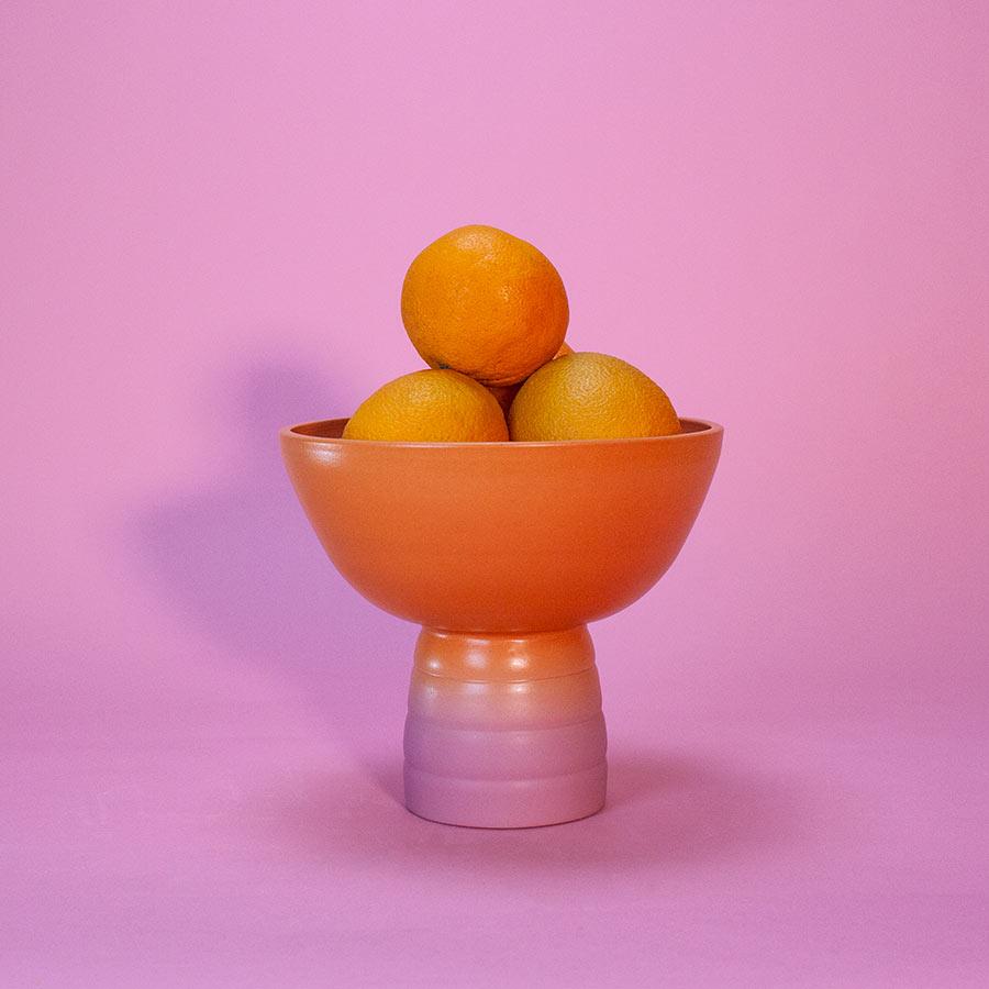GRADIENT-FRUIT-BOWL-MARILYNE-BLAIS-ORANGE-DUSTY-PINK-MATTE-HANDMADE-COOL-MACHINE-1