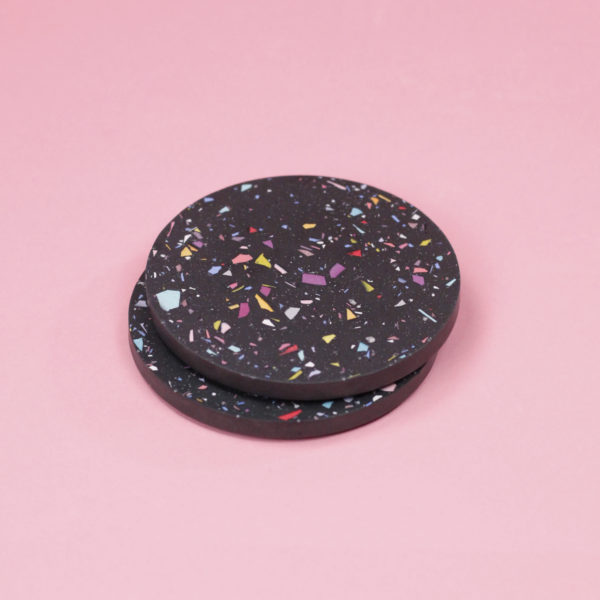 SET OF TWO TERRAZZO COASTERS