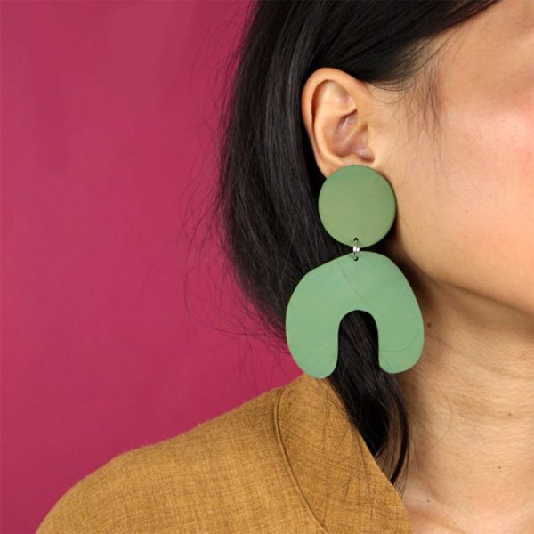 GREEN PORCELAIN BIG ARCH EARRINGS FOUR EYES CERAMICS