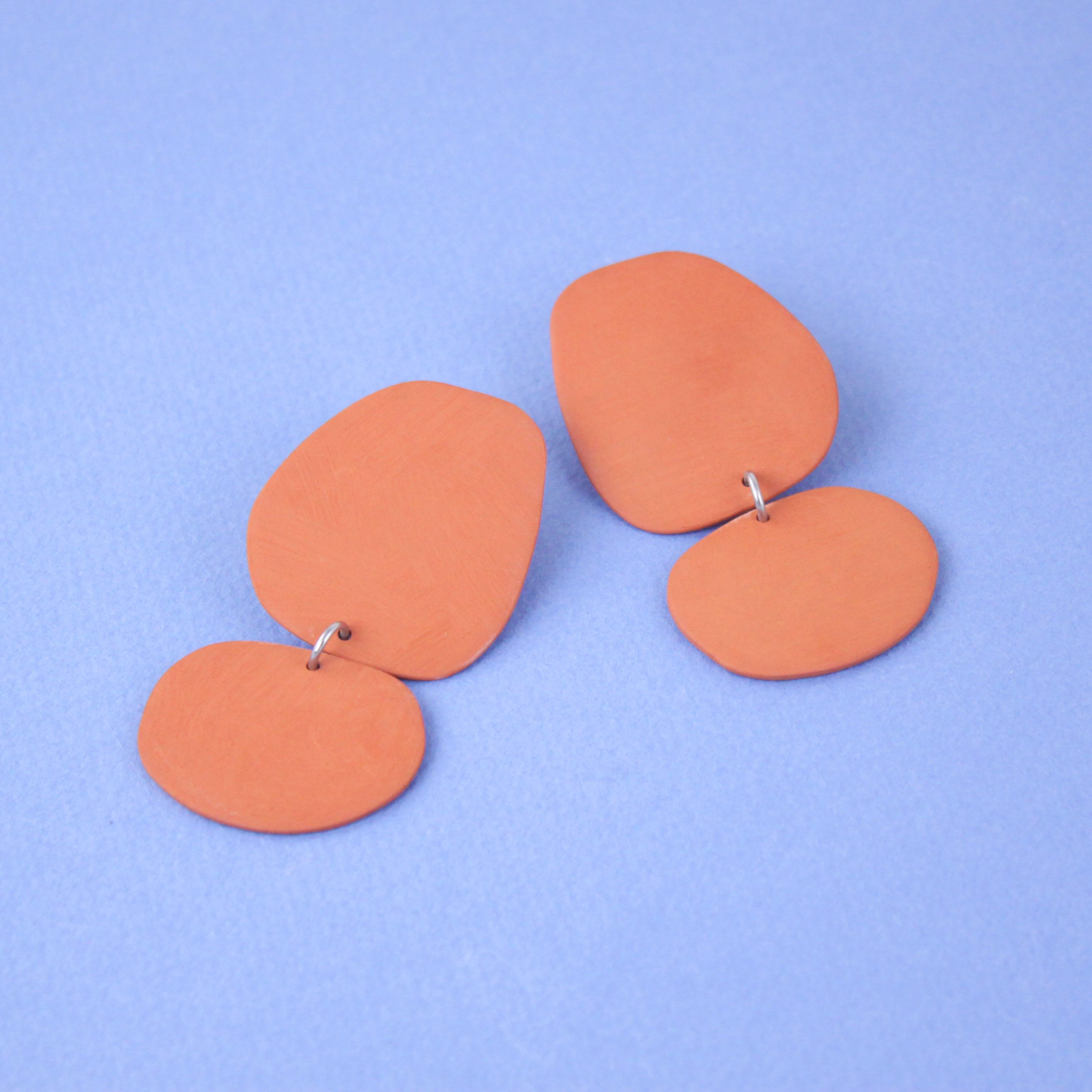 TERRACOTTA BIG BLOBS EARRINGS FOUR EYES CERAMICS
