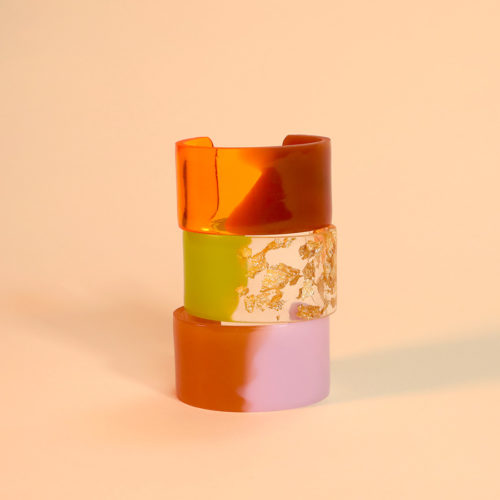 BRACELETS B ORGANIC RESIN PINK ORANGE GREEN GOLD AMANDA JOHANNE LINDE