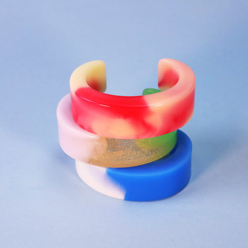 BRACELETS C ORGANIC RESIN PINK ORANGE GREEN GOLD AMANDA JOHANNE LINDE