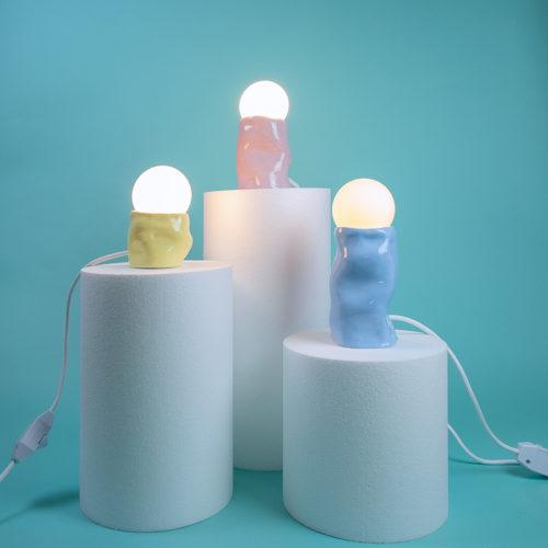 Glossy lamp 3 colors pink yellow blue handmade SIUP Studio Cool Machine (4)