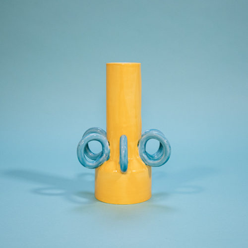 Olio vase Ari de Luca yellow blue handmade Cool Machine store (1)