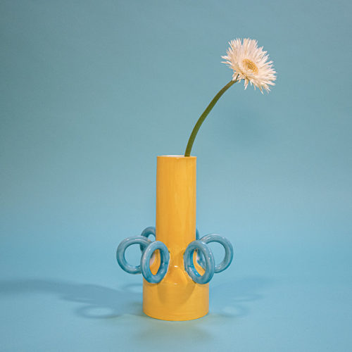 Olio vase Ari de Luca yellow blue handmade Cool Machine store (6)