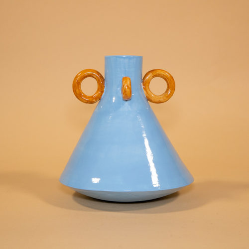 Ramina vase Ari de Luca blue brown handmade Cool Machine store (1)