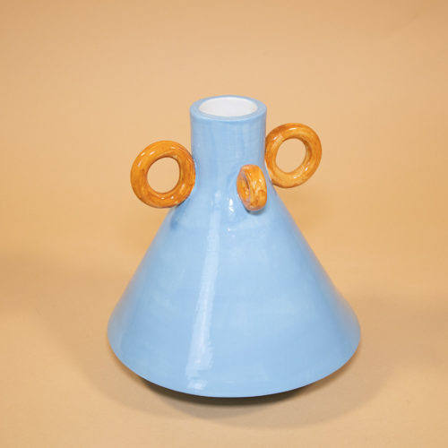 Ramina vase Ari de Luca blue brown handmade Cool Machine store (4)