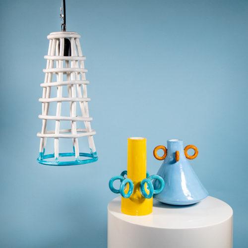 Sirenuse pendant light Olio Ramina vases Ari de Luca handmade Cool Machine