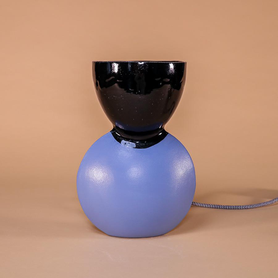 Table lamp unira Iaai ceramic bicolore lamp blue black handmade in berlin cool machine store (1)