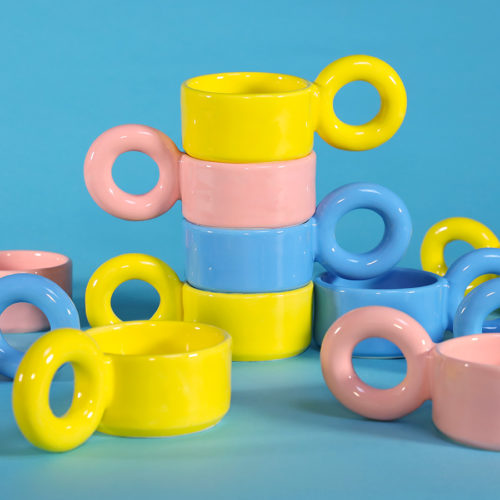 bigloop cups lola mayeras ceramics tableware pink yellow blue cool machine art and design store creative studio (2)